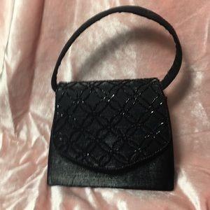 Handbags - Black satin beaded evening bag